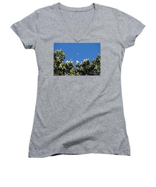 Women's V-Neck T-Shirt (Junior Cut) featuring the photograph Magnolia Moon by Meghan at FireBonnet Art