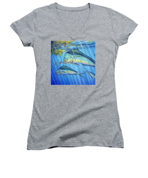 Mahi Mahi In Sargassum Women's V-Neck