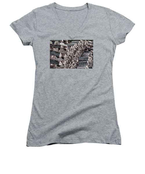 Maine Firewood Women's V-Neck T-Shirt