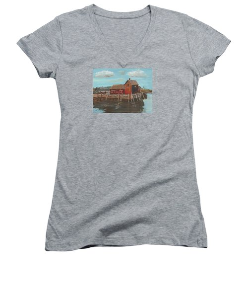 Maine Fishing Shack Women's V-Neck T-Shirt