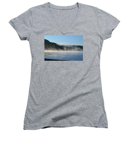 Women's V-Neck T-Shirt (Junior Cut) featuring the photograph Maine Morning by James Petersen
