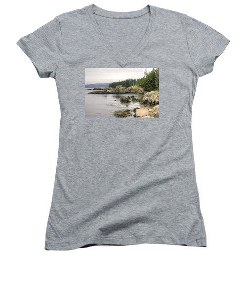 Maine's Beautiful Rocky Shore Women's V-Neck T-Shirt (Junior Cut) by Denyse Duhaime