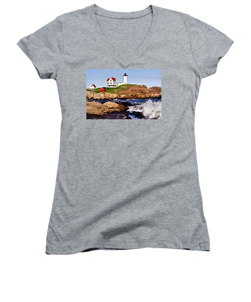 Maine's Nubble Light Women's V-Neck T-Shirt
