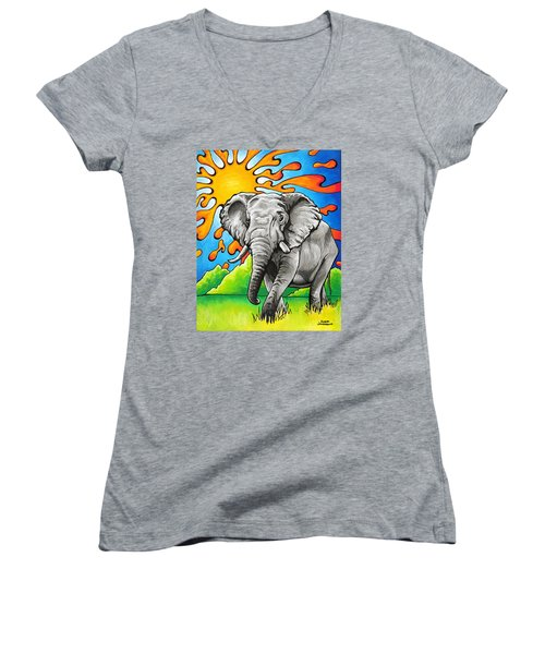Majestic Elephant Women's V-Neck (Athletic Fit)