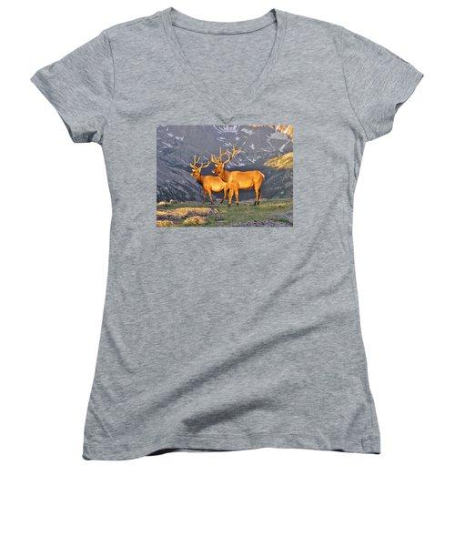 Women's V-Neck T-Shirt (Junior Cut) featuring the photograph Majestic Elk by Diane Alexander