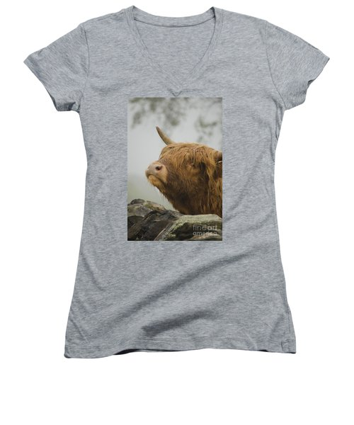 Majestic Highland Cow Women's V-Neck (Athletic Fit)