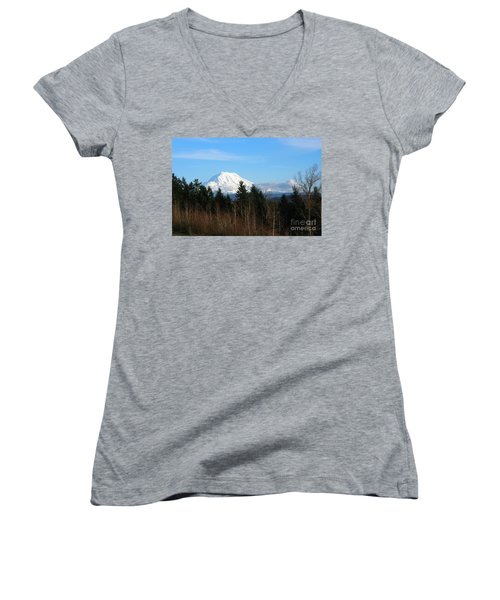 Majestic Mount Rainier Women's V-Neck T-Shirt