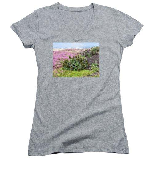 Majestic Shoreline Women's V-Neck T-Shirt (Junior Cut) by Joseph Baril