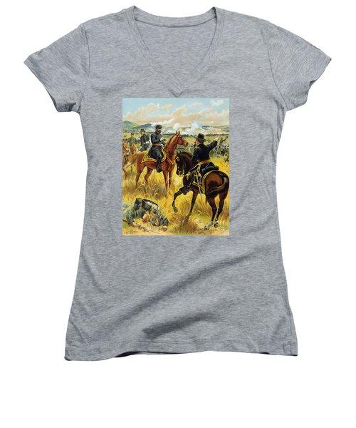 Major General George Meade At The Battle Of Gettysburg Women's V-Neck T-Shirt