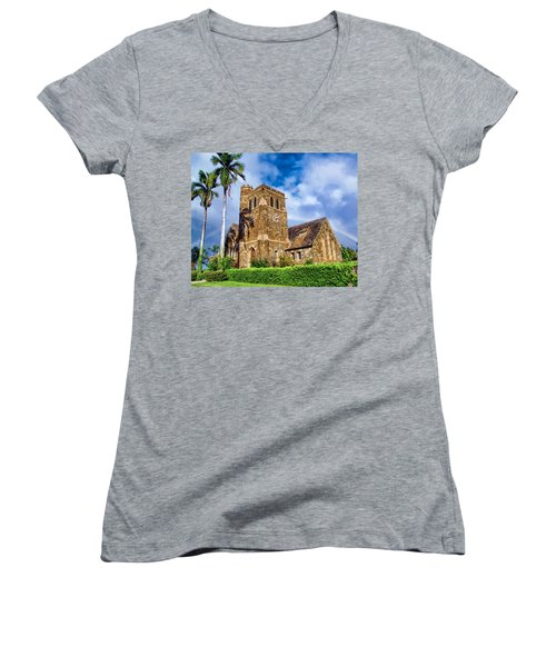 Makawao Union Church 1 Women's V-Neck T-Shirt (Junior Cut) by Dawn Eshelman
