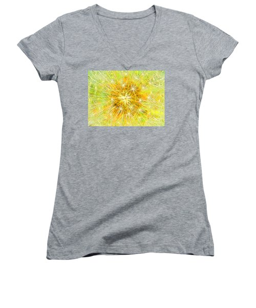Make A Wish In Greenish Yellow Women's V-Neck (Athletic Fit)