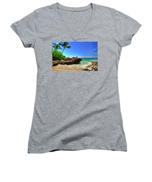 Makena Secret Cove Paako Beach Women's V-Neck T-Shirt