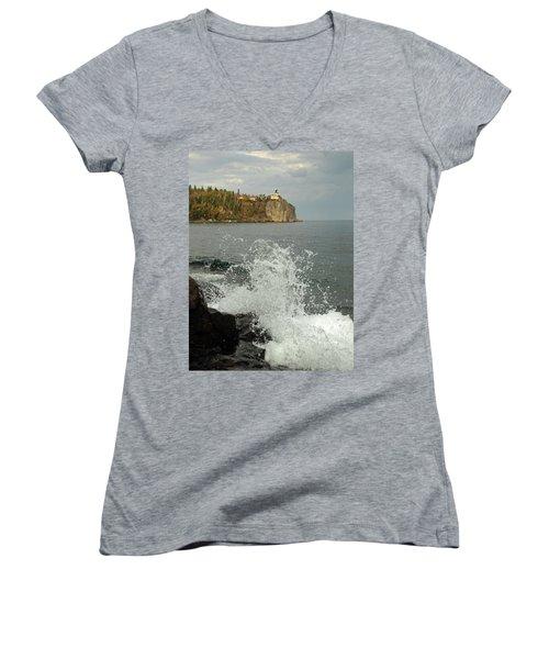 Women's V-Neck T-Shirt (Junior Cut) featuring the photograph Making A Splash At Split Rock Lighthouse  by James Peterson
