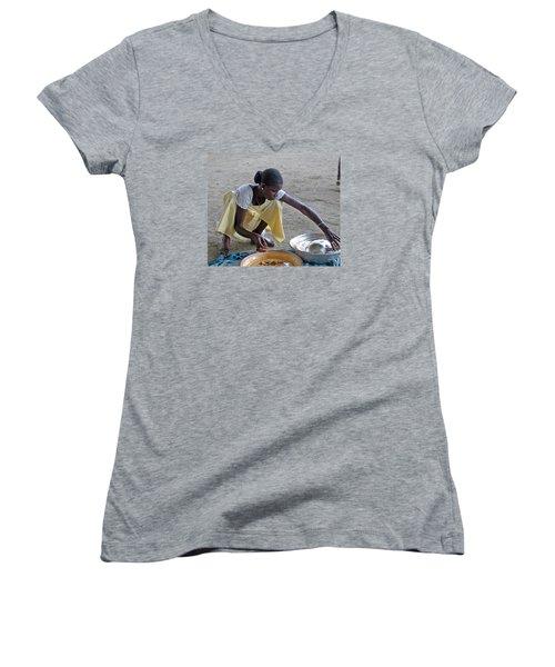 Making Lunch Dakar Senagal Women's V-Neck T-Shirt (Junior Cut) by Jay Milo