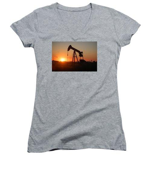 Making Tea At Sunset 2 Women's V-Neck T-Shirt (Junior Cut) by Leticia Latocki