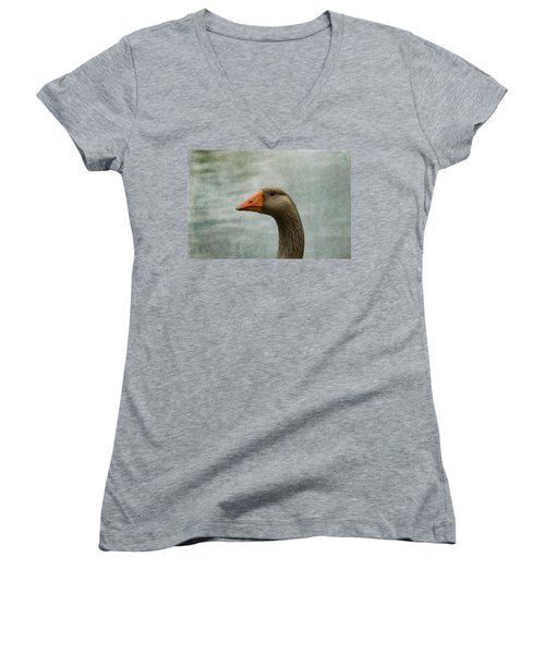 Male Graylag Goose Profile Women's V-Neck T-Shirt (Junior Cut) by Denyse Duhaime