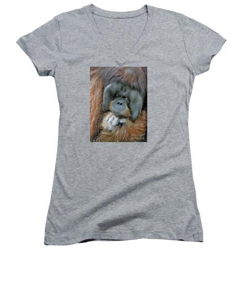 Women's V-Neck T-Shirt (Junior Cut) featuring the photograph Male Orangutan  by Savannah Gibbs