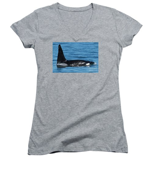 Women's V-Neck T-Shirt (Junior Cut) featuring the photograph Lonesome George Ca165  Male Orca Killer Whale In Monterey Bay California 2013 by California Views Mr Pat Hathaway Archives