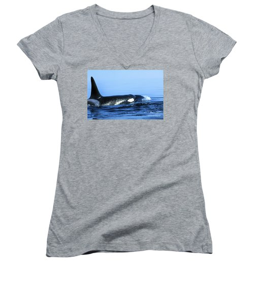Women's V-Neck T-Shirt (Junior Cut) featuring the photograph Male Orca Off The San Juan Islands Washington 1986 by California Views Mr Pat Hathaway Archives