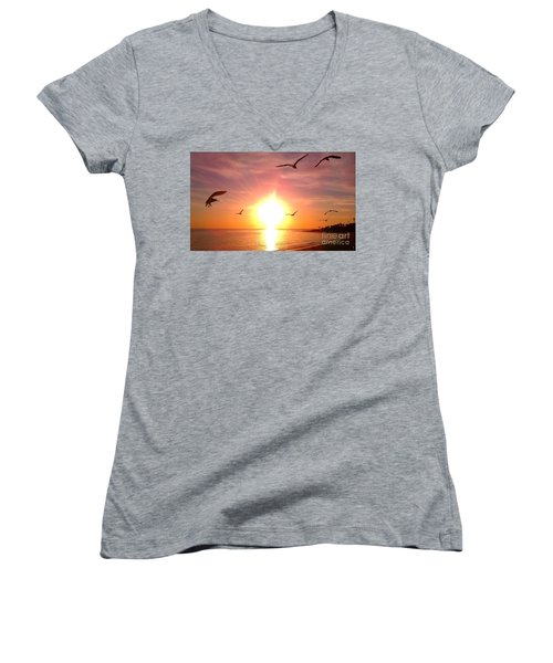 Women's V-Neck T-Shirt (Junior Cut) featuring the photograph Malibu Paradise by Chris Tarpening