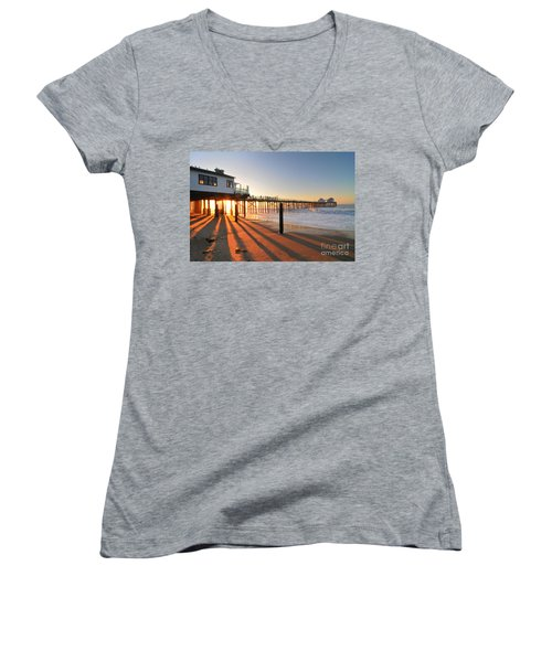 Malibu Pier Sunburst Women's V-Neck