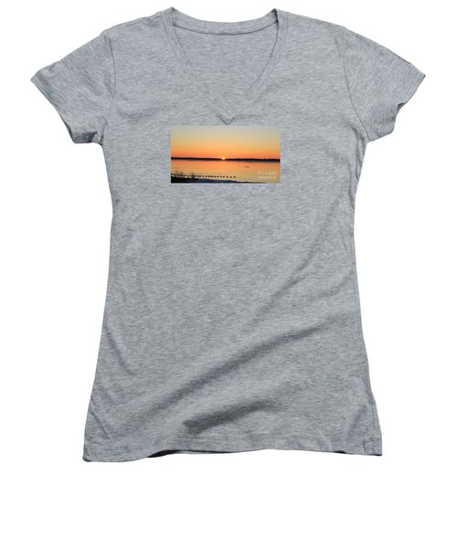 Mallards At Sunrise Women's V-Neck T-Shirt