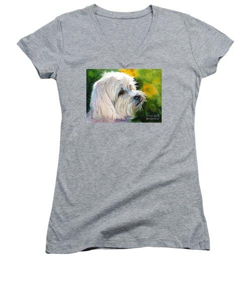 Maltese Women's V-Neck T-Shirt (Junior Cut) by Bonnie Rinier