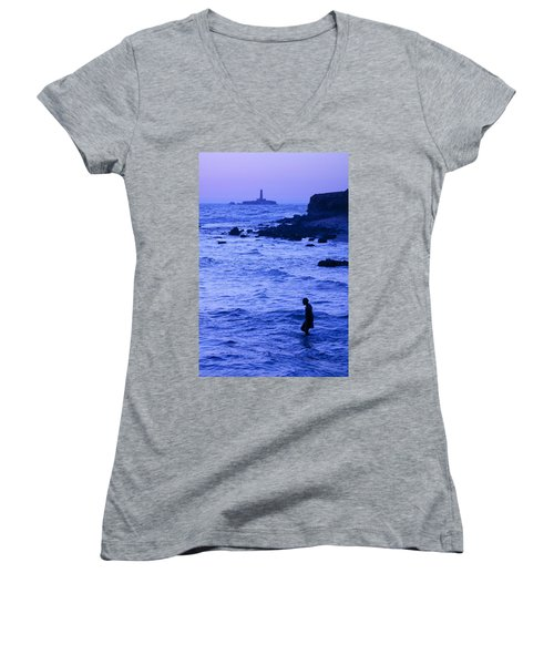 Man And Lighthouse Women's V-Neck (Athletic Fit)