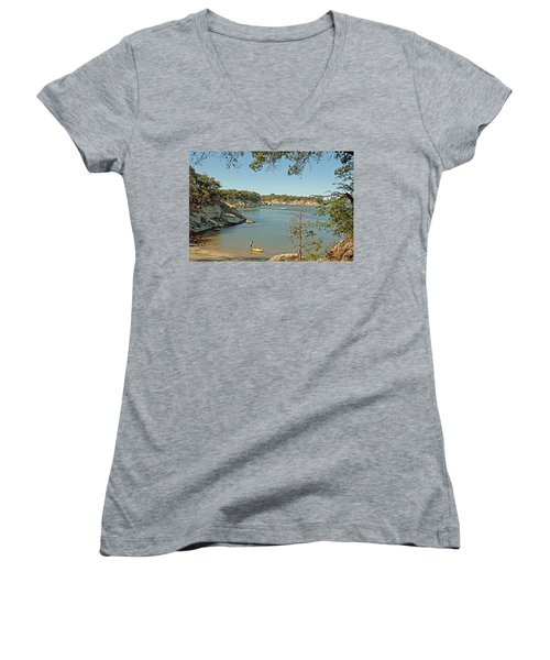 Man Going Kayaking Women's V-Neck T-Shirt (Junior Cut) by Charles Beeler