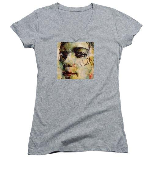 Man In The Mirror Women's V-Neck T-Shirt (Junior Cut) by Paul Lovering