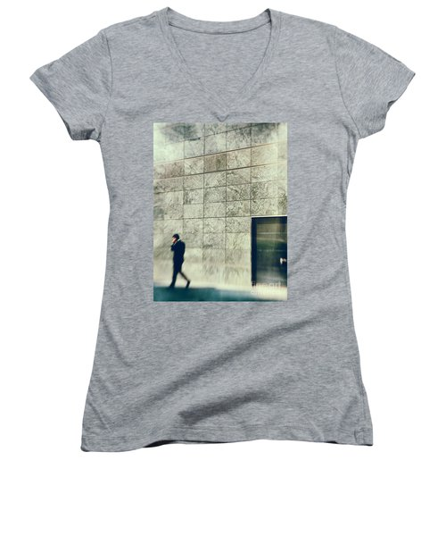 Women's V-Neck T-Shirt (Junior Cut) featuring the photograph Man With Cell Phone by Silvia Ganora