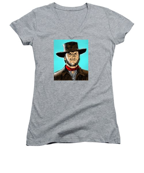 Women's V-Neck T-Shirt (Junior Cut) featuring the mixed media Clint Eastwood by Salman Ravish