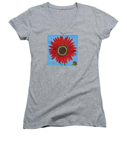 Mandy's Burgundy Beauty Women's V-Neck T-Shirt (Junior Cut) by Donna  Manaraze