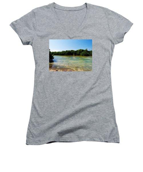 Women's V-Neck T-Shirt (Junior Cut) featuring the photograph Mangrove @ Safehaven Sound by Amar Sheow