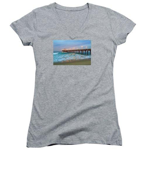 Manhattan Beach Reflections Women's V-Neck T-Shirt