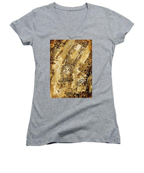 Manhattan Map Antique Women's V-Neck T-Shirt (Junior Cut) by Bekim Art