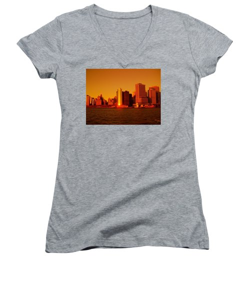 Manhattan Skyline At Sunset Women's V-Neck