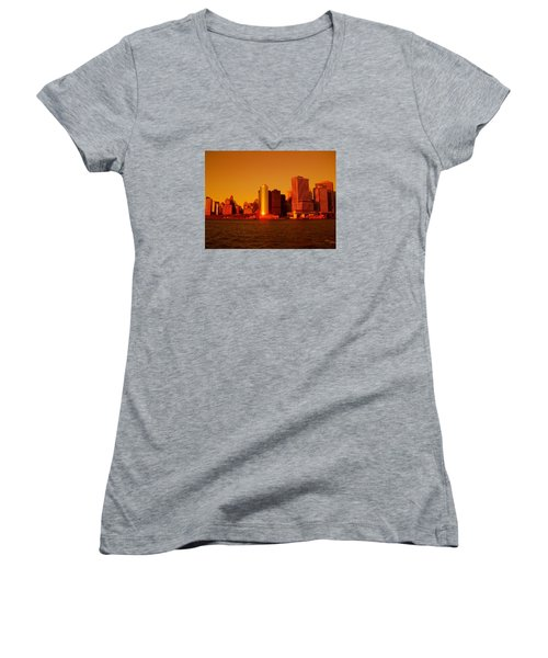 Manhattan Skyline At Sunset Women's V-Neck