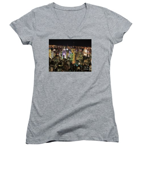 Women's V-Neck T-Shirt (Junior Cut) featuring the photograph Manhattan Skyline Empire State Wobbles by Andy Prendy