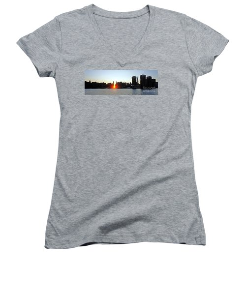 Women's V-Neck T-Shirt (Junior Cut) featuring the photograph Manhattanhenge 2011 by Lilliana Mendez