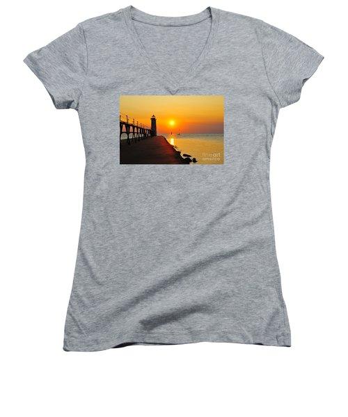 Manistee Lighthouse Sunset Women's V-Neck