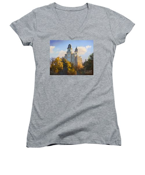 Manti Temple Women's V-Neck T-Shirt (Junior Cut) by Rob Corsetti