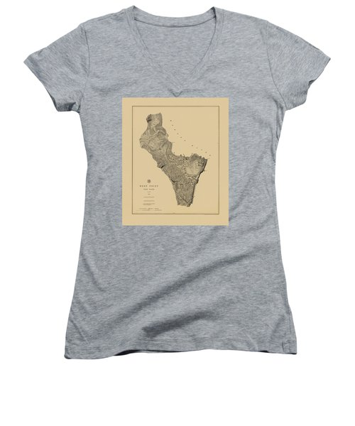Map Of West Point 1883 Women's V-Neck (Athletic Fit)