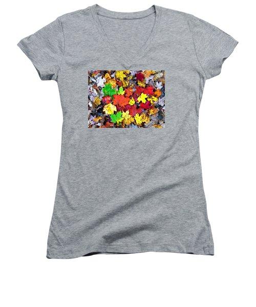 Women's V-Neck T-Shirt (Junior Cut) featuring the photograph Maple Carpet by Jackie Carpenter