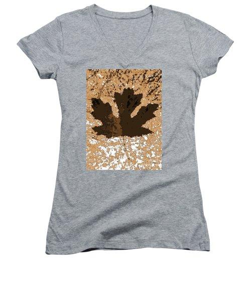 Maple Leaf Brown  Hues Women's V-Neck T-Shirt (Junior Cut) by R Muirhead Art