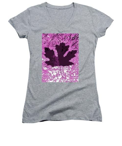 Maple Leaf Purple Pop Poster Hues  Women's V-Neck T-Shirt (Junior Cut) by R Muirhead Art