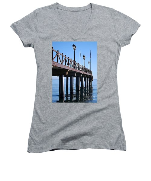 Women's V-Neck T-Shirt (Junior Cut) featuring the photograph Marbella Pier Spain by Clare Bevan