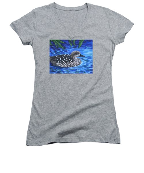 Marbled Teal Duck On The Water Women's V-Neck
