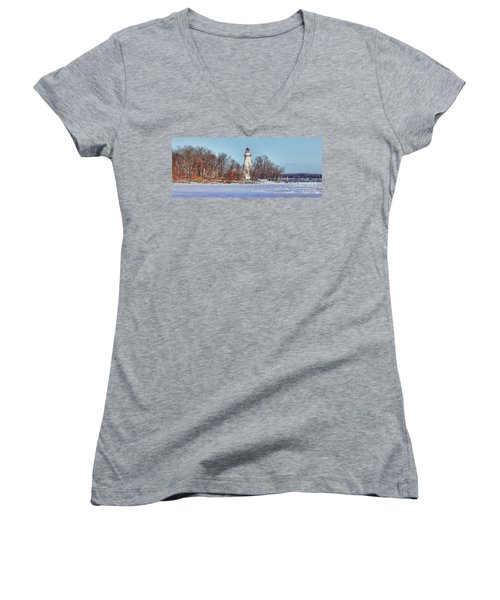Marblehead Lighthouse In Winter Women's V-Neck (Athletic Fit)
