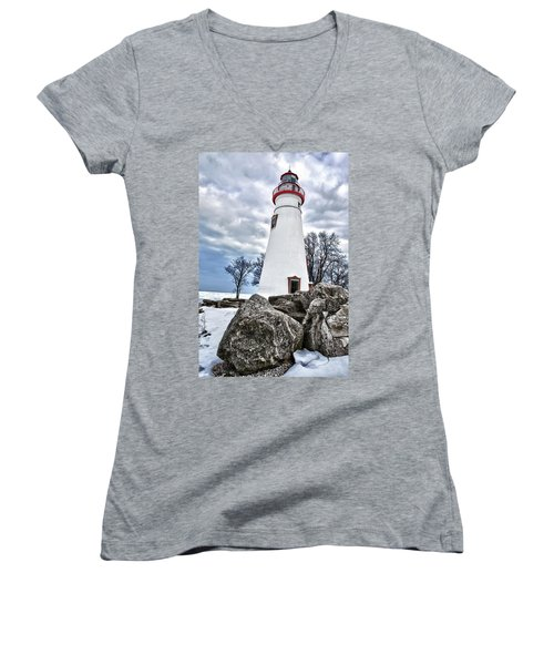 Marblehead Lighthouse Women's V-Neck (Athletic Fit)